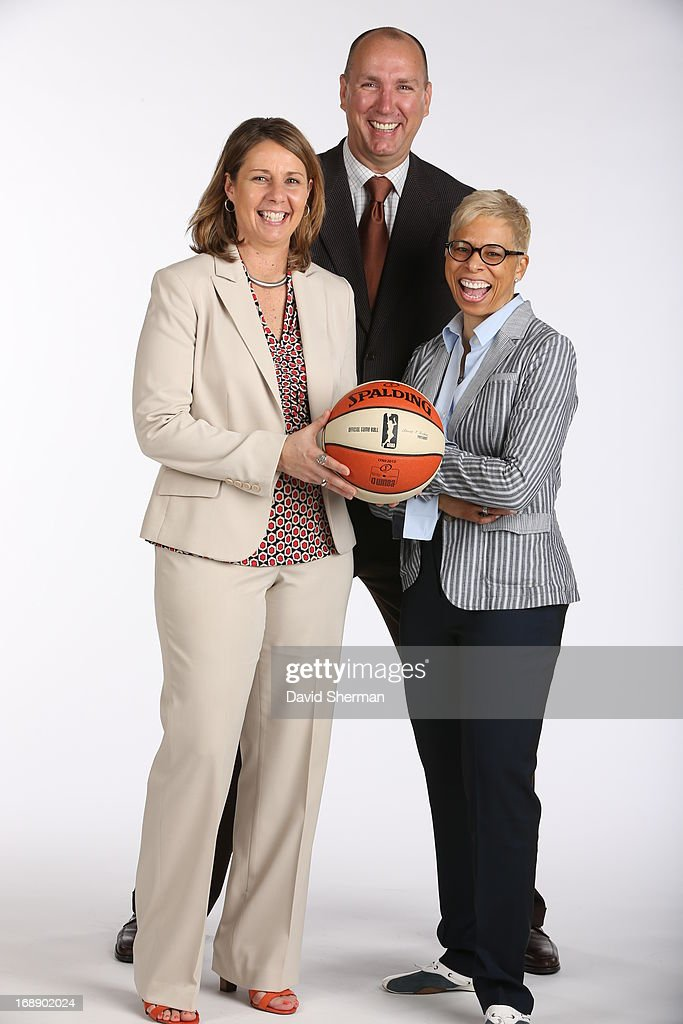 Head Coach Cheryl Reeve and Assistant Coaches Jim Petersen and Shelley Patterson of the Minnesota Lynx pose for portraits during 2013 Media Day on May 16, 2013 at the Minnesota Timberwolves and Lynx LifeTime Fitness Training Center at Target Center in Minneapolis, Minnesota.