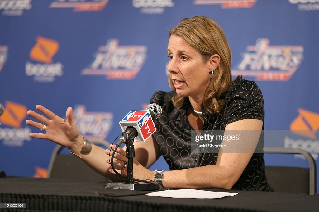 Head Coach Cheryl Reeve of the Minnesota Lynx answers questions from the press after the 2012 WNBA Finals Game Two 83-71 win against the Indiana Fever on October 17, 2012 at Target Center in Minneapolis, Minnesota.