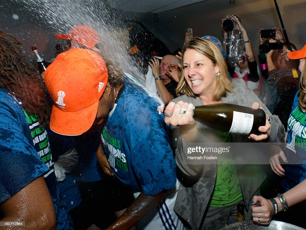 Head coach Cheryl Reeve of the Minnesota Lynx celebrates a win in Game Five of the 2015 WNBA Finals against the Indiana Fever on October 14, 2015 at Target Center in Minneapolis, Minnesota. The Lynx defeated the Fever 69-52 to win the WNBA Championship.