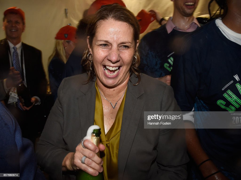 Head coach Cheryl Reeve of the Minnesota Lynx celebrates winning against the Los Angeles Sparks in Game Five of the WNBA Finals on October 4, 2017 at Williams in Minneapolis, Minnesota. The Lynx defeated the Sparks 85-76 to win the championship.