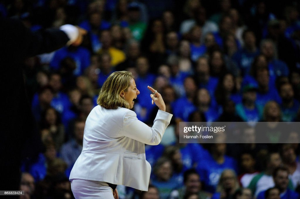 Head coach Cheryl Reeve of the Minnesota Lynx reacts to a call during the first quarter of Game Two of the WNBA Finals against the Los Angeles Sparks on September 26, 2017 at Williams in Minneapolis, Minnesota. The Lynx defeated the Sparks 70-68.