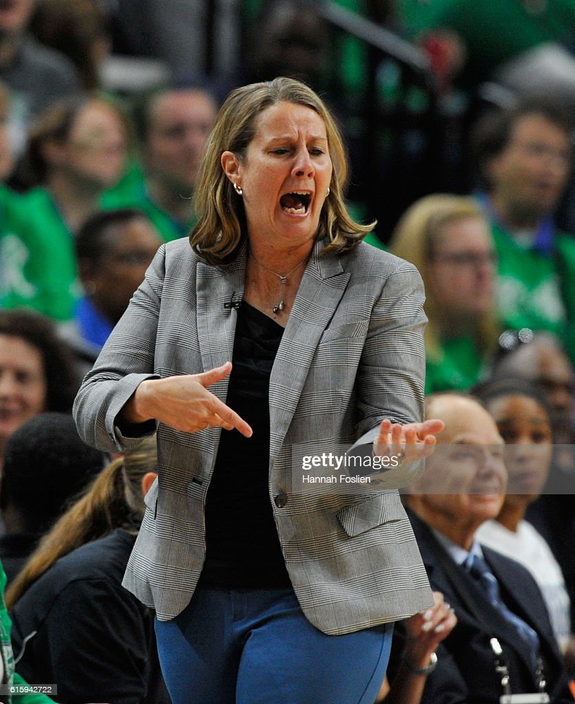 Head coach Cheryl Reeve of the Minnesota Lynx reacts to a play in Game Five of the 2016 WNBA Finals against the Los Angeles Sparks on October 11, 2016 at Target Center in Minneapolis, Minnesota.