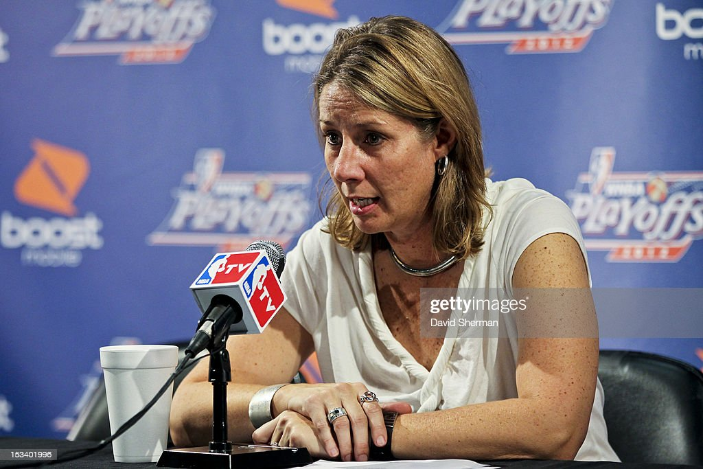 Head Coach Cheryl Reeve of the Minnesota Lynx speaks to the media after Game One of the 2012 WNBA Western Conference Finals against the Los Angeles Sparks on October 4, 2012 at Target Center in Minneapolis, Minnesota.