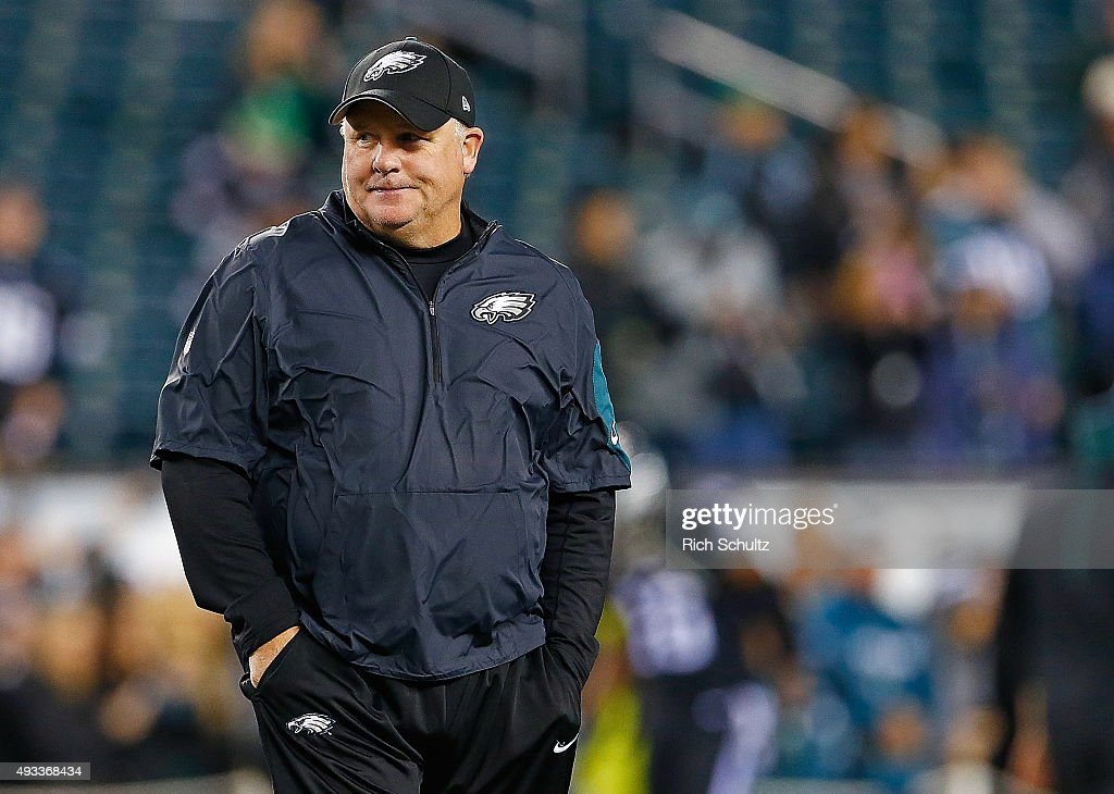 Head coach <a gi-track='captionPersonalityLinkClicked' href=/galleries/search?phrase=Chip+Kelly&family=editorial&specificpeople=6161242 ng-click='$event.stopPropagation()'>Chip Kelly</a> of the Philadelphia Eagles looks on prior to their game against the New York Giants at Lincoln Financial Field on October 19, 2015 in Philadelphia, Pennsylvania.