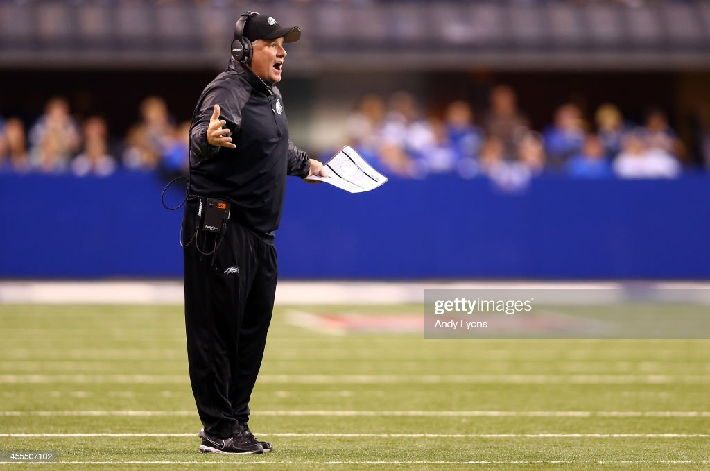 Head coach <a gi-track='captionPersonalityLinkClicked' href=/galleries/search?phrase=Chip+Kelly&family=editorial&specificpeople=6161242 ng-click='$event.stopPropagation()'>Chip Kelly</a> of the Philadelphia Eagles reacts against the Indianapolis Colts during a game at Lucas Oil Stadium on September 15, 2014 in Indianapolis, Indiana.