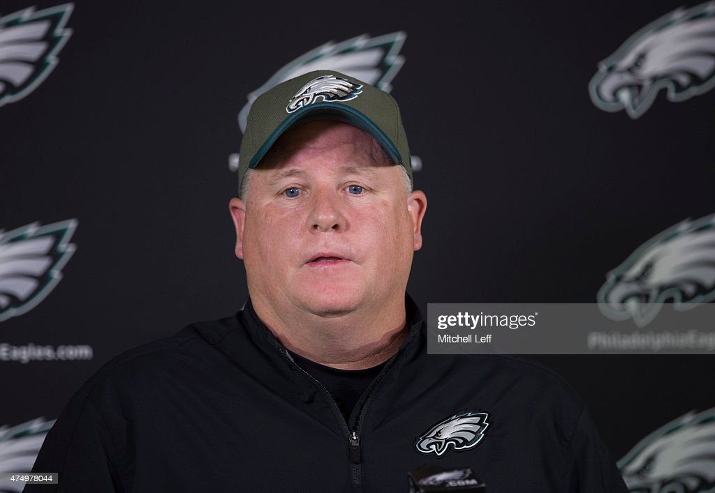 Head coach Chip Kelly of the Philadelphia Eagles talks to the media prior to the start of the days OTA's on May 28, 2015 at the NovaCare Complex in Philadelphia, Pennsylvania.