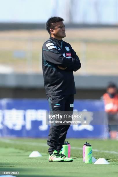 Head coach Cho Kwi Jae of Shonan Bellmare looks on during the JLeague J2 match between Kamatamare Sanuki and Shonan Bellmare at Pikara Stadium on...