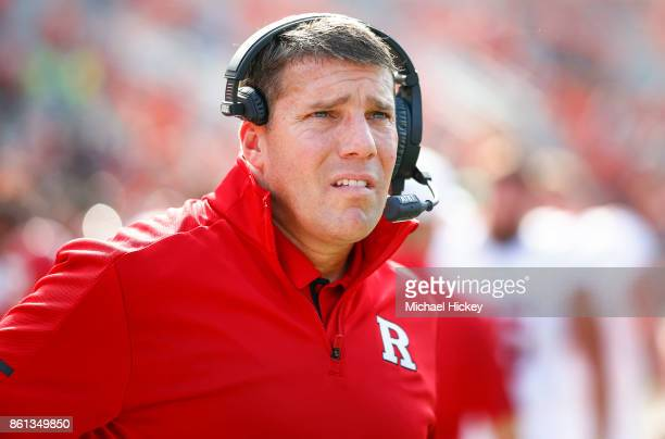Head coach Chris Ash of the Rutgers Scarlet Knights is seen before the game against the Illinois Fighting Illini at Memorial Stadium on October 14...