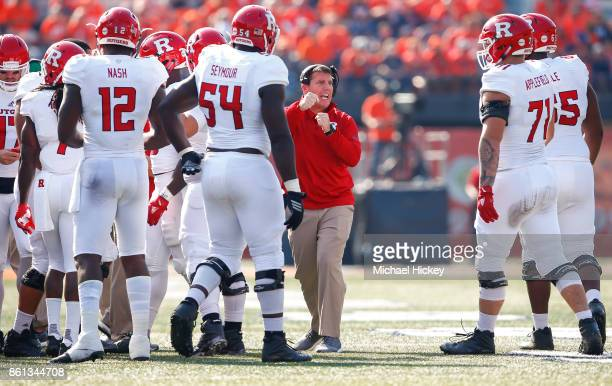 Head coach Chris Ash of the Rutgers Scarlet Knights is seen during the game against the Illinois Fighting Illini at Memorial Stadium on October 14...