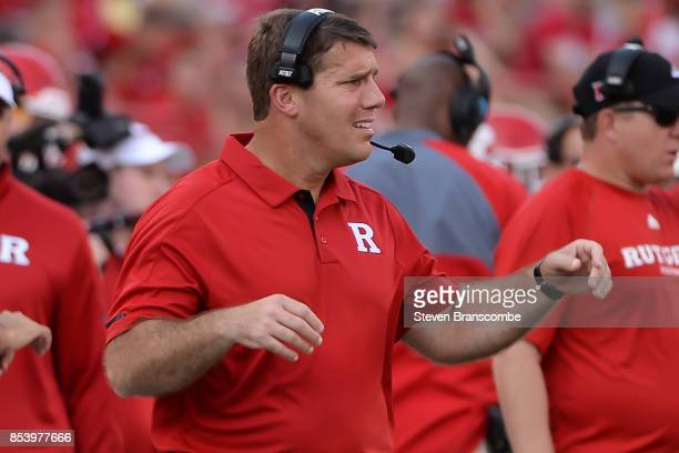 Head coach Chris Ash of the Rutgers Scarlet Knights reacts during the game against the Nebraska Cornhuskers at Memorial Stadium on September 23 2017...
