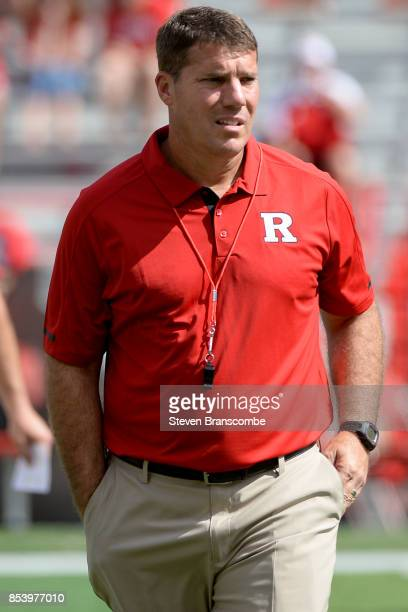 Head coach Chris Ash of the Rutgers Scarlet Knights watches pregame action against the Nebraska Cornhuskers at Memorial Stadium on September 23 2017...