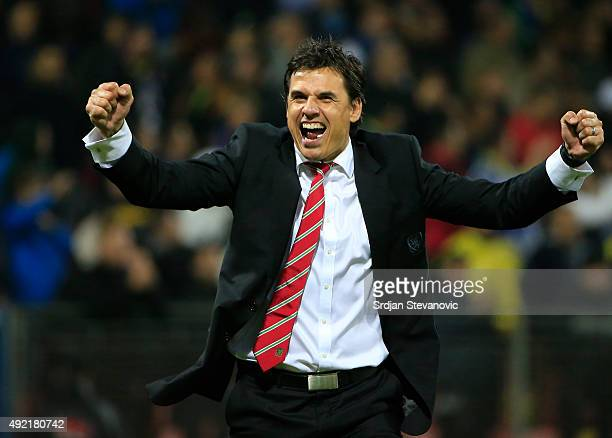 Head coach Chris Coleman of Wales celebrates after the Euro 2016 qualifying football match between Bosnia and Herzegovina and Wales at the Stadium...