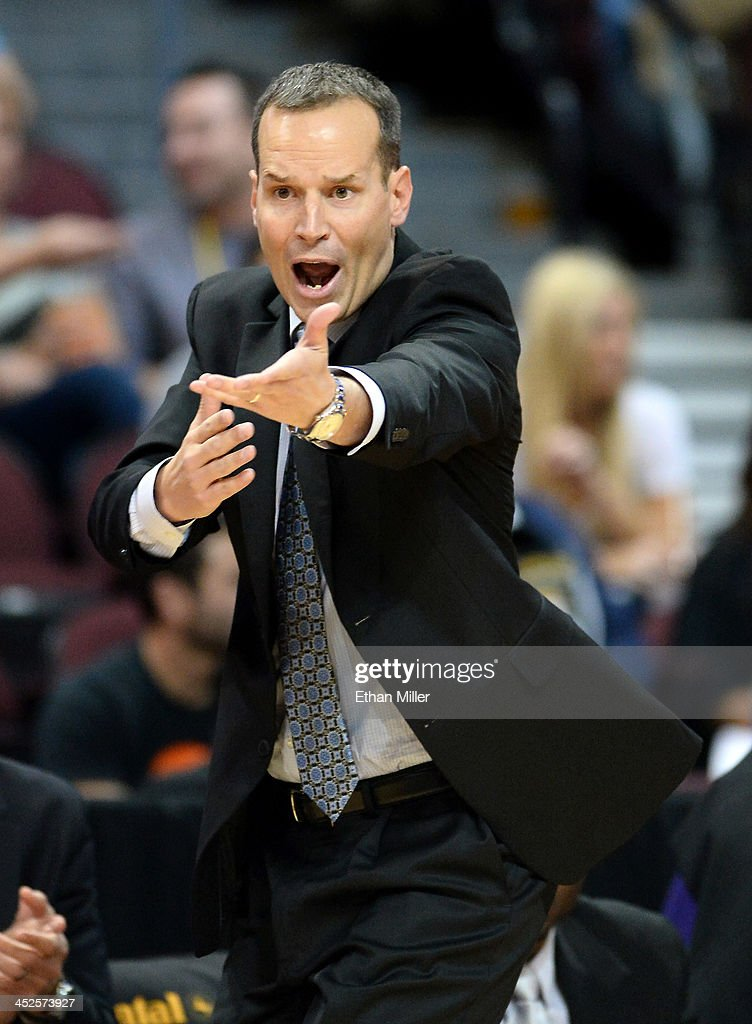 Head coach <a gi-track='captionPersonalityLinkClicked' href=/galleries/search?phrase=Chris+Collins+-+Basketball+Coach&family=editorial&specificpeople=15052673 ng-click='$event.stopPropagation()'>Chris Collins</a> of the Northwestern Wildcats argues an official's call during the team's game against the UCLA Bruins during the Continental Tire Las Vegas Invitational at the Orleans Arena on November 29, 2013 in Las Vegas, Nevada. UCLA won 95-79.