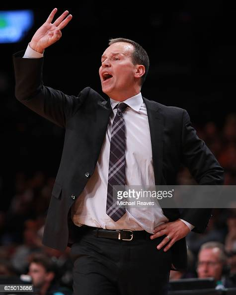 Head coach Chris Collins of the Northwestern Wildcats directs his team against the Texas Longhorns in the second half of the 2016 Legends Classic at...