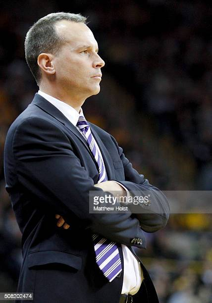 Head coach Chris Collins of the Northwestern Wildcats in the first half against the Iowa Hawkeyes on January 31 2016 at CarverHawkeye Arena in Iowa...