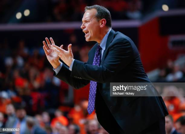 Head coach Chris Collins of the Northwestern Wildcats is seen during the game against the Illinois Fighting Illini at State Farm Center on February...