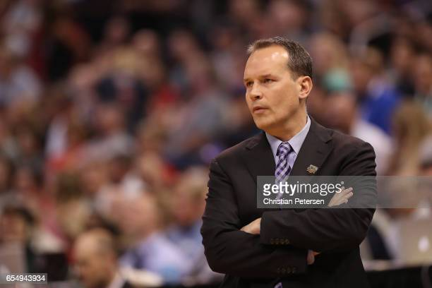 Head coach Chris Collins of the Northwestern Wildcats looks on against the Gonzaga Bulldogs during the second round of the 2017 NCAA Men's Basketball...