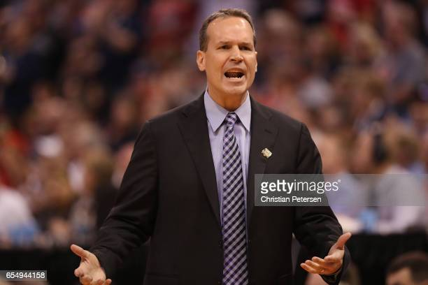Head coach Chris Collins of the Northwestern Wildcats reacts against the Gonzaga Bulldogs during the second round of the 2017 NCAA Men's Basketball...