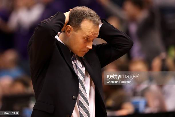 Head coach Chris Collins of the Northwestern Wildcats reacts in the second half against the Vanderbilt Commodores during the first round of the 2017...