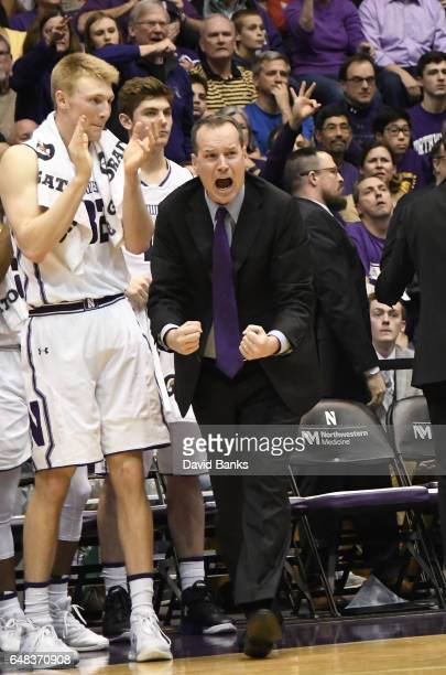 Head coach Chris Collins of the Northwestern Wildcats reacts to a call in a game against the Purdue Boilermakers during the first half on March 5...