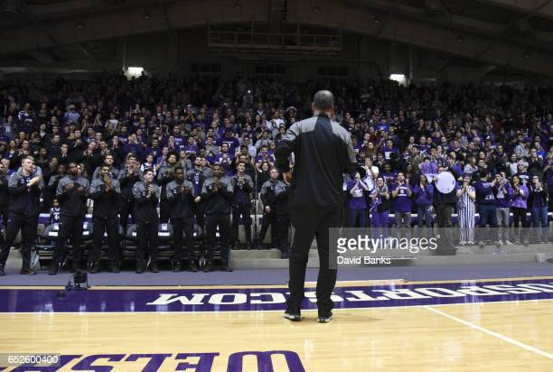 Head coach Chris Collins of the Northwestern Wildcats talks to his team after being selected to play Vanderbilt during a NCAA Division I Men's...