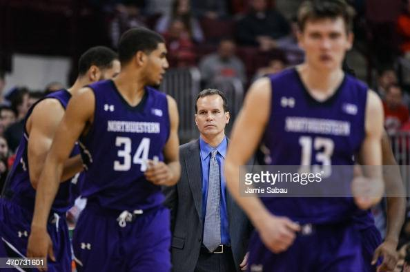 Head Coach Chris Collins of the Northwestern Wildcats watches his team play against the Ohio State Buckeyes on February 19 2014 at Value City Arena...