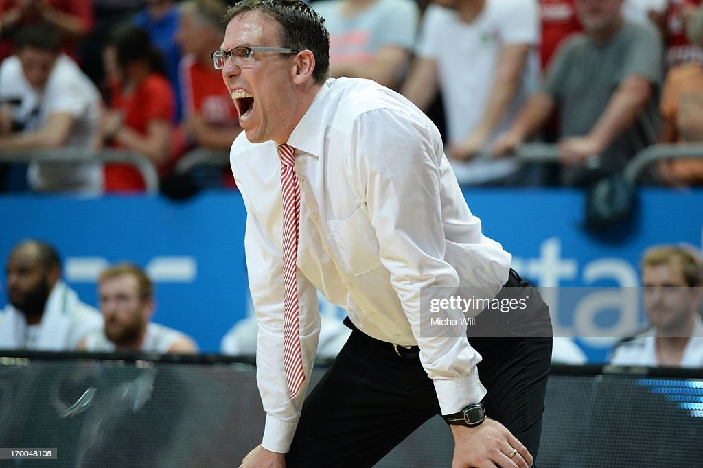 head coach <a gi-track='captionPersonalityLinkClicked' href=/galleries/search?phrase=Chris+Fleming&family=editorial&specificpeople=730495 ng-click='$event.stopPropagation()'>Chris Fleming</a> of Bamberg reacts during game 5 of the semifinals of the Beko BBL playoffs between Brose Baskets and FC Bayern Muenchen at Stechert Arena on June 6, 2013 in Bamberg, Germany.