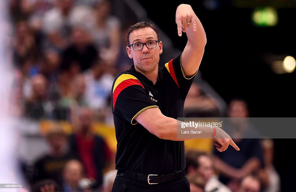 Head coach <a gi-track='captionPersonalityLinkClicked' href=/galleries/search?phrase=Chris+Fleming&family=editorial&specificpeople=730495 ng-click='$event.stopPropagation()'>Chris Fleming</a> of Germany reacts during the Men's Basketball friendly match between Germany and France at Lanxess Arena on August 30, 2015 in Cologne, Germany.