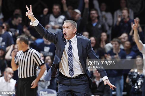 Head coach Chris Holtmann of the Butler Bulldogs reacts in the second half of the game against the Villanova Wildcats at Hinkle Fieldhouse on January...