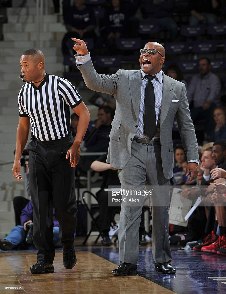 Head coach Chris Walker of the Texas Tech Red Raiders calls out instructions against the Kansas State Wildcats during the first half on February 25, 2013 at Bramlage Coliseum in Manhattan, Kansas. Kansas State defeated Texas Tech 75-55.