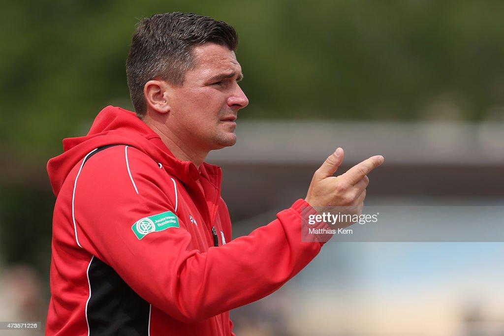 Head coach Christian Franz Pohlmann of Guetersloh gestures during the U17 Girl's Bundesliga semi final first leg match between Turbine Potsdam and...