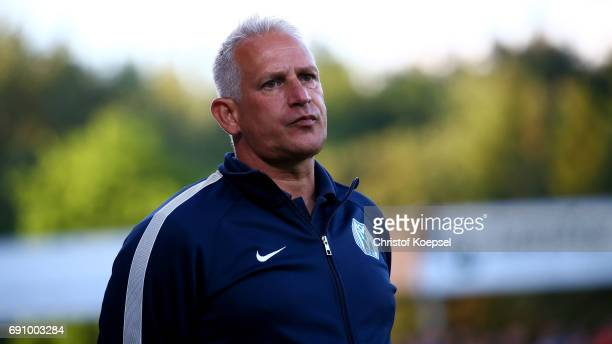 Head coach Christian Neidhart of Meppen is seen during the Relegation Regionalliga Play Off second leg match at Hensch Arena on May 31 2017 in Meppen...