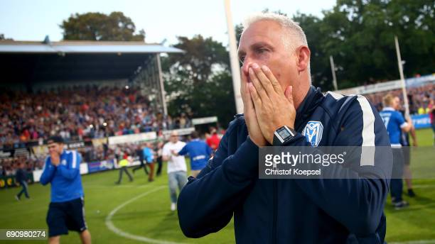 Head coach Christian Neidhart of Meppen shows emotions after winning 43 after epnalty shootou the Relegation Regionalliga Play Off second leg match...