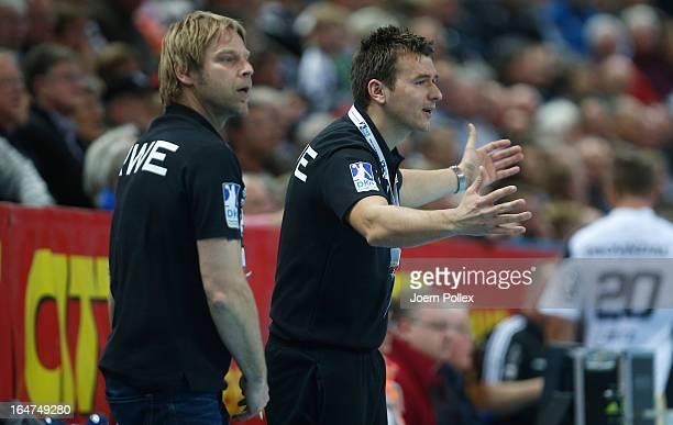 Head coach Christian Prokop of Essen gestures during the DKB Handball Bundesliga match between THW Kiel and TUSEM Essen at SparkassenArena on March...