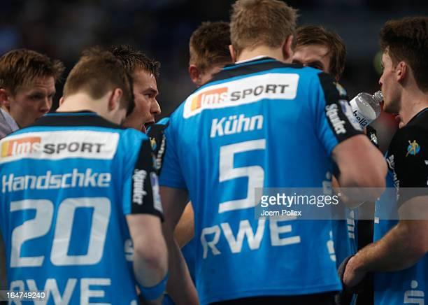 Head coach Christian Prokop of Essen talks to his team during the DKB Handball Bundesliga match between THW Kiel and TUSEM Essen at SparkassenArena...