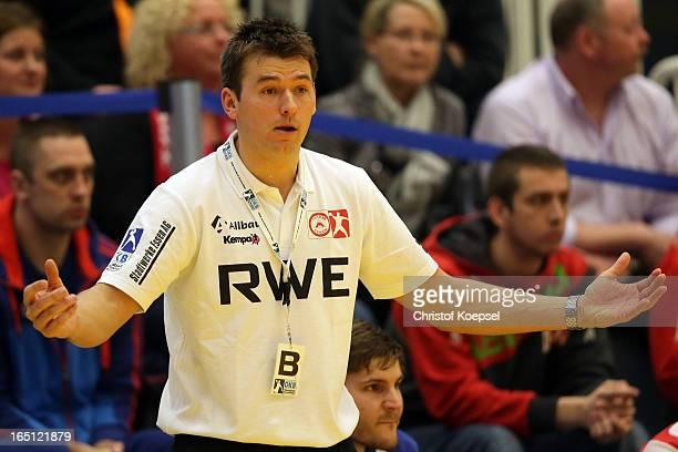 Head coach Christian Prokop of TUSEM Essen looks dejected during the DKB Handball Bundesliga match between TUSEM Essen and Tus NLuebbecke at the...