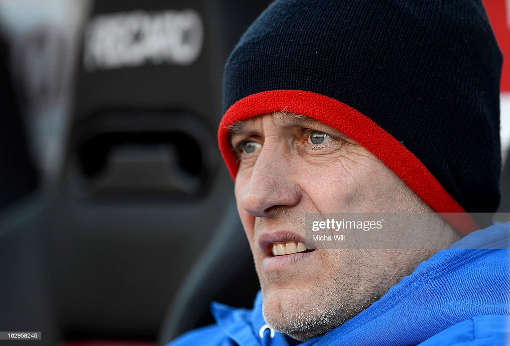 Head coach Christian Streich of Freiburg looks on before the Bundesliga Match between 1. FC Nuernberg and SC Freibug at Grundig Stadion on March 2, 2013 in Nuremberg, Germany.