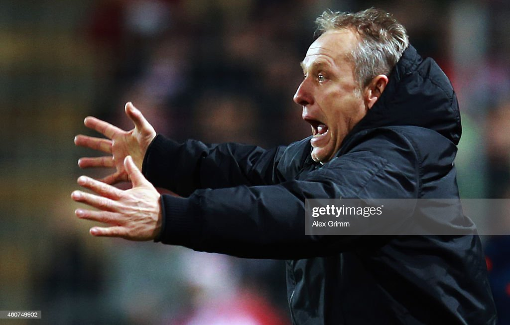 Head coach <a gi-track='captionPersonalityLinkClicked' href=/galleries/search?phrase=Christian+Streich&family=editorial&specificpeople=4411796 ng-click='$event.stopPropagation()'>Christian Streich</a> of Freiburg reacts during the Bundesliga match between SC Freiburg and Hannover 96 at Schwarzwald-Stadion on December 21, 2014 in Freiburg im Breisgau, Germany.
