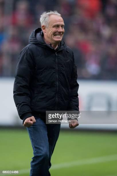 Head coach Christian Streich of Freiburg reacts during the Bundesliga match between SC Freiburg and FC Schalke 04 at SchwarzwaldStadion on May 7 2017...