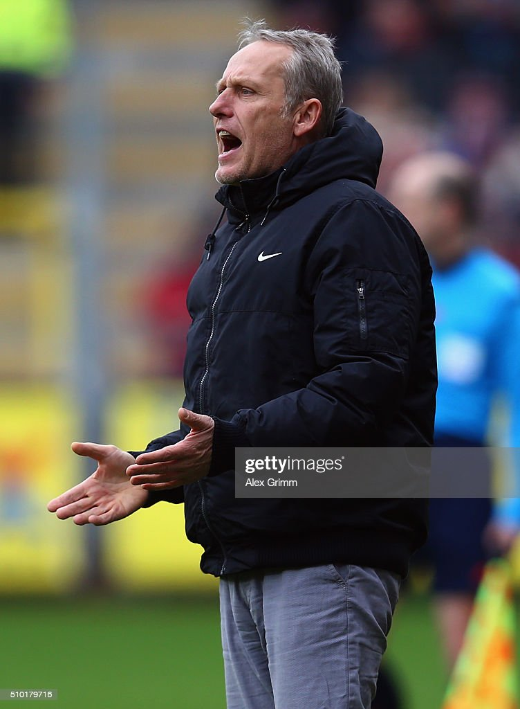 Head coach Christian Streich of Freiburg reacts during the Second Bundesliga match between SC Freiburg and Fortuna Duesseldorf at Schwarzwald-Stadion on February 14, 2016 in Freiburg im Breisgau, Germany.