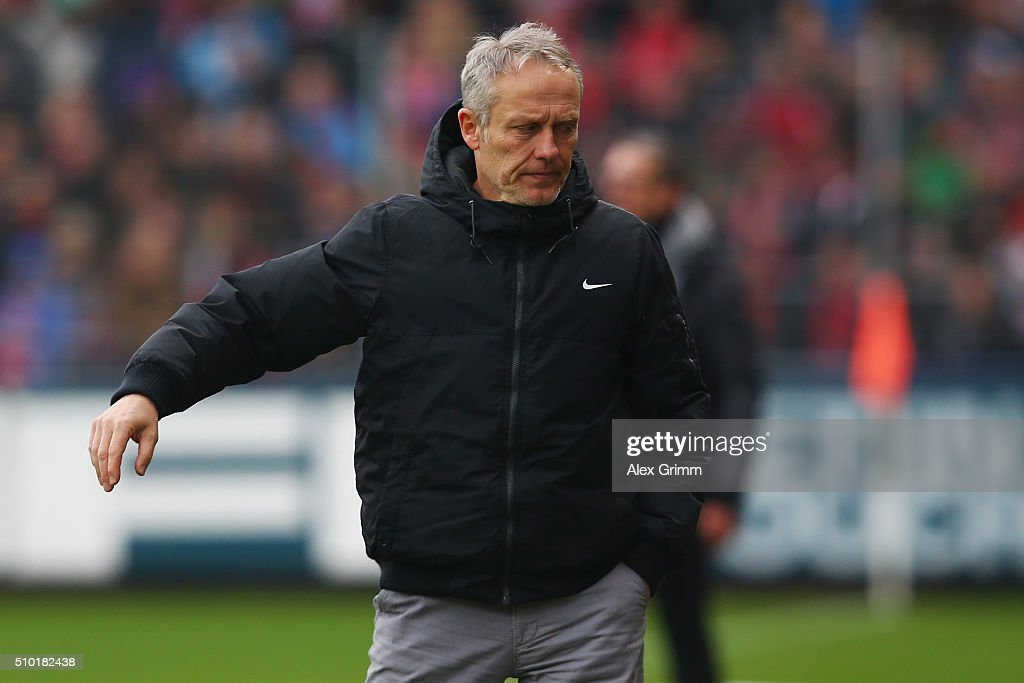 Head coach <a gi-track='captionPersonalityLinkClicked' href=/galleries/search?phrase=Christian+Streich&family=editorial&specificpeople=4411796 ng-click='$event.stopPropagation()'>Christian Streich</a> of Freiburg reacts during the Second Bundesliga match between SC Freiburg and Fortuna Duesseldorf at Schwarzwald-Stadion on February 14, 2016 in Freiburg im Breisgau, Germany.