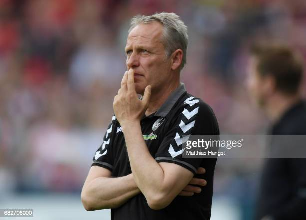 Head coach Christian Streich of Freiburg seen during the Bundesliga match between SC Freiburg and FC Ingolstadt 04 at SchwarzwaldStadion on May 13...