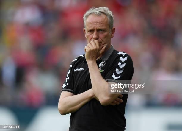 Head coach Christian Streich of Freiburg seen during the Bundesliga match between SC Freiburg and FC Ingolstadt 04 at SchwarzwaldStadion on May 13...