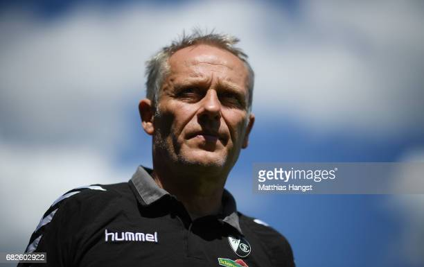 Head coach Christian Streich of Freiburg seen prior to the Bundesliga match between SC Freiburg and FC Ingolstadt 04 at SchwarzwaldStadion on May 13...