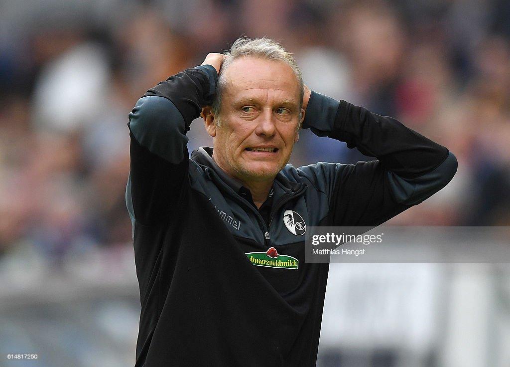 Head coach Christian Streich of Freiburg shows his disappointment during the Bundesliga match between TSG 1899 Hoffenheim and SC Freiburg at Wirsol Rhein-Neckar-Arena on October 15, 2016 in Sinsheim, Germany.