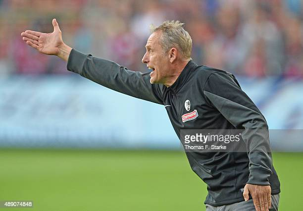 Head coach Christian Streich of Freiburger gives advice to his players during the Second Bundesliga match between SC Freiburg and Arminia Bielefeld...