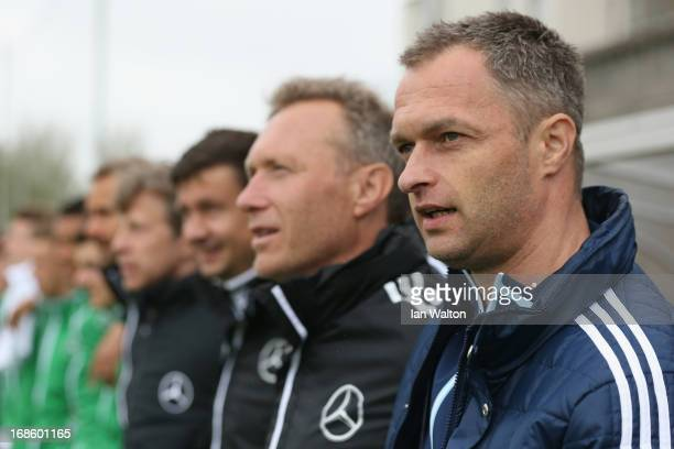 Head coach Christian Wuck of Germany U16's looks on prior to the UEFA Under 16 Development Tournament match between Republic of Ireland and Germany...