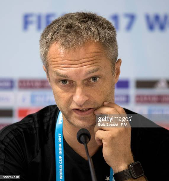 Head coach Christian Wueck of Germany attends a press conference a day before the FIFA U17 World Cup India 2017 group C match between Germany and...