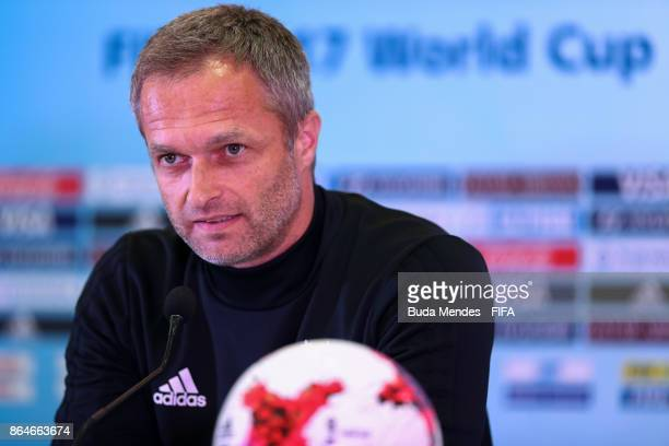 Head coach Christian Wueck of Germany attends a press conference a day before the FIFA U17 World Cup India 2017 Quarter Final match between Germany...