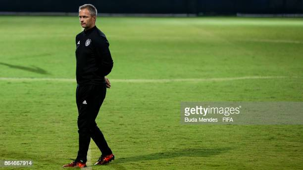 Head coach Christian Wueck of Germany looks on during a training session a day before the FIFA U17 World Cup India 2017 Quarter Final match between...